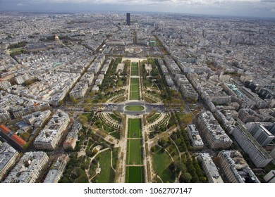 Beautiful view of Paris from the height of the Eiffel Tower