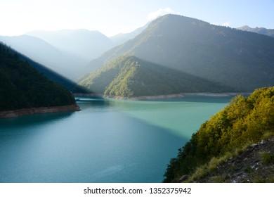 Beautiful view to Patara Enguri River on the way to Mestia in Svaneti, Georgia