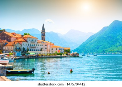 Beautiful view of Perast town in Kotor bay, Montenegro. Famous travel destination.