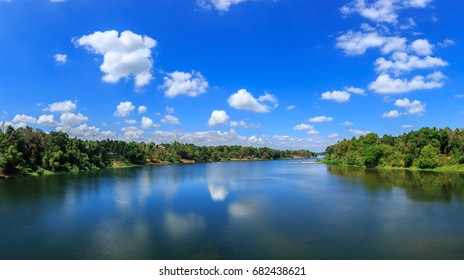 A beautiful view of Periyar river with amazing clouds from Kalady, Cochin, Kerala, India.