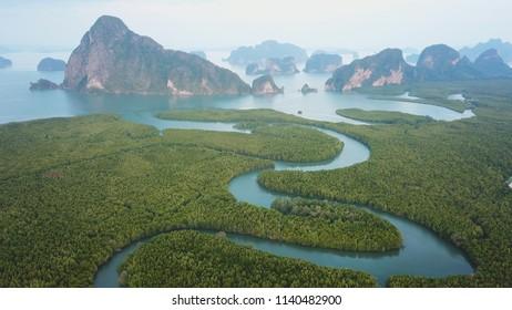 Beautiful View of Phang Nga Bay in Samed Nang Chee Viewpoint, Phang Nga, Thailand