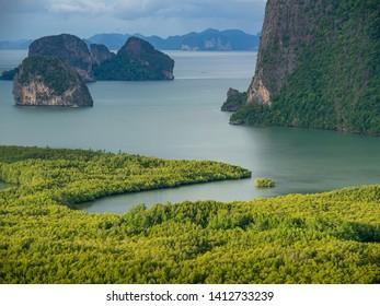 Beautiful View of Phang Nga Bay in Samed Nang Chee Viewpoint, Thailand,rain