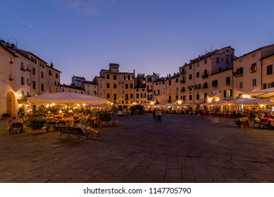 Beautiful view of the Piazza dell'Anfiteatro at the blue hour, Lucca, Tuscany, Italy