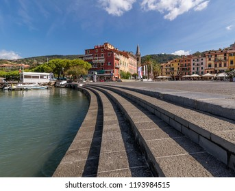 Beautiful view of Piazza Garibaldi and the promenade of Lerici, La Spezia, Liguria, Italy