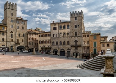 Beautiful view of Piazza Grande, Arezzo, Tuscany,  Italy