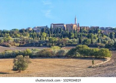 Beautiful view of the Pienza on a sunny autumn day, Tuscany, Italy