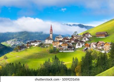 Beautiful view of Pieve di Marebbe Enneberg Pfarre village in Trentino Alto Adige - Bolzano, Italy