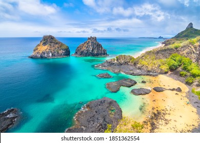 Beautiful view of Pigs Bay (Baia dos Porcos) and Two Brothers Hill (Morro Dois Irmãos) in Fernando de Noronha Island - Brazil
