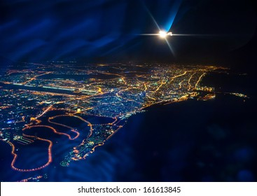 Beautiful view from the the plane on night Dubai. United Arab Emirates