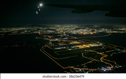 Beautiful view from the the plane on night incheon, South Korea
