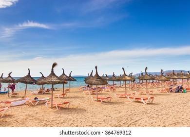 Beautiful view of Platja de Palma de Mallorca, Baleares, Spain