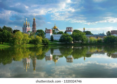 Beautiful view of the pond and the Novodevichy Convent in Moscow