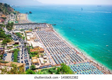 Beautiful view of popular beach, the first town on the Amalfi Coast, with the Gulf of Salerno, province of Salerno, Campania