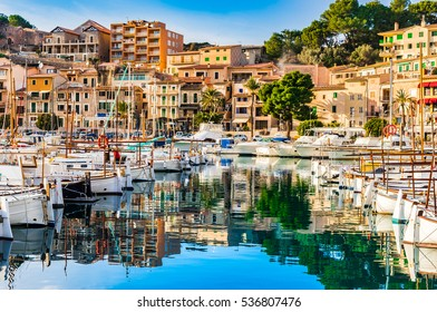 Beautiful view of Port de Soller, Majorca island, Spain Mediterranean Sea.