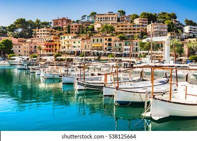 Beautiful view of Port de Soller, bay of Majorca island, Spain Medierranean Sea.
