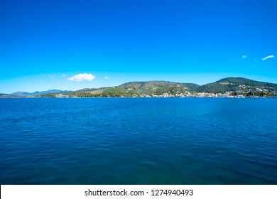 beautiful view from the port of Poros island in Greece