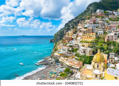 Beautiful view of the Positano city in Amalfi Coast - Italy