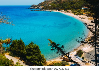 Beautiful view of Potami beach on Samos Island in Greece