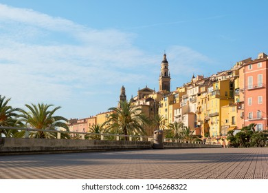 Beautiful view of promenade and old medieval town Menton on french riviera in France.