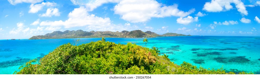 Beautiful view of Providencia tropical Island and blue bay, Green Jungle, perfect Caribbean Sea,