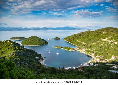 Beautiful view at Prozurska luka on island Mljet at Croatia