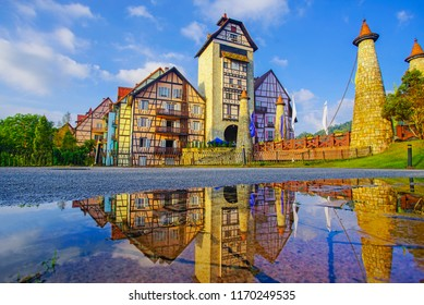 Beautiful view of public building Colmar Tropicale, French style building in Bukit Tinggi, Malaysia