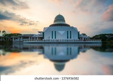 Beautiful view of Public Mosque at Seri Iskandar,Perak,Malaysia during sunrise. Soft focus,blur due to long exposure