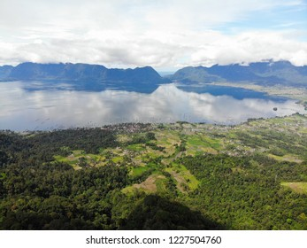 Beautiful view of Puncak Lawang in West Sumatera, Indonesia. Puncak Lawang is a peak plateau in Agam District. From this place, we can see the blue Maninjau Lake.