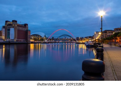 The beautiful view from the Quayside in Newcastle upon Tyne, looking towards the Gateshead Millennium Bridge, Tyne Bridge, the SAGE Gateshead and the BALTIC Centre for Contemporary Art.