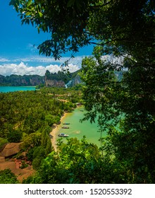 Beautiful view of Railay West beach and East Railay Bay beach from the  Railay point. Tropical beach with limestone rock formations on the paradise coast, Railay beach near Krabi Thailand