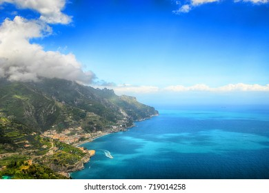 beautiful view from Ravelo at Amalfi coast in Southern Italy