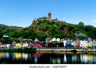 The Beautiful view of Reichsburg Castle, Cochem town, Germany,  21 July 2019. Cochem Castle view at morning blue hour