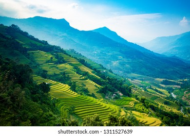 Beautiful view of Rice terrace at Hoang Su Phi. Viewpoint in Hoang Su Phi district, Ha Giang province, Vietnam