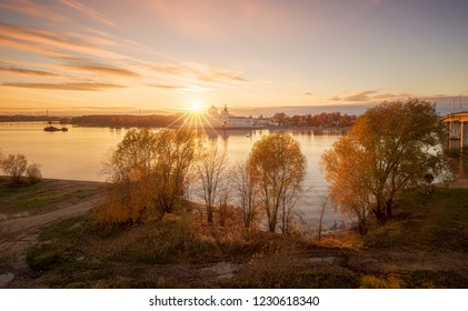 Beautiful view of the right bank of the Kostroma River just opposite the city of Kostroma.
