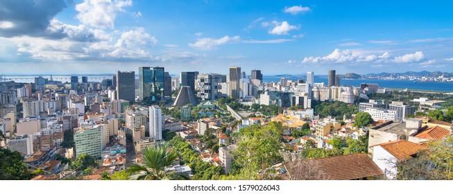 Beautiful view of Rio de Janeiro Downtown Busines Center with Cathedral San Sebastian and Lapa Arches  from Ruins Park - Parque das Runias viewpoint - Rio de Janeiro, Brazil
