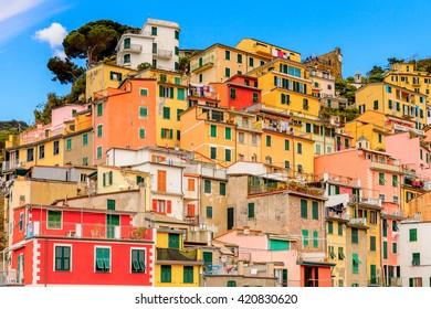 Beautiful view of Riomaggiore (Rimazuu), a village in province of La Spezia, Liguria, Italy. It's one of the lands of Cinque Terre, UNESCO World Heritage Site