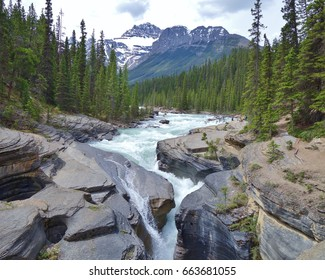 Beautiful view of the river flowing through Mistaya Canyon at Banff National Park in Alberta, Canada, a popular tourist attraction on a short trail just off the Icefields Parkway.