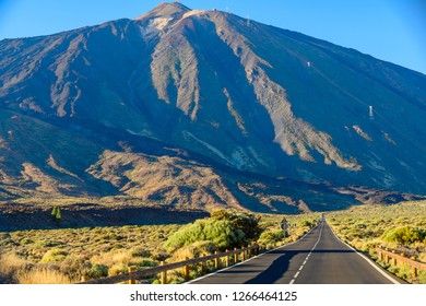 Beautiful view road near Teide volcano. Tenerife. Canary Islands.