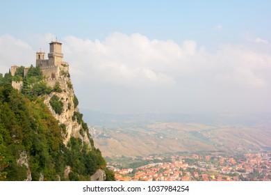 Beautiful view to the Rocca della Guaita, the most ancient fortress of San Marino, Italy.