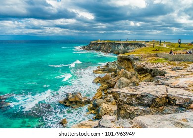 Beautiful view of rocky cliff at sunrise on the the southern part of the Isla Mujeres in Caribbean, Mexico