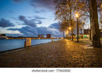 Beautiful view of Rotterdam City in the evening, Holland, Western Europe