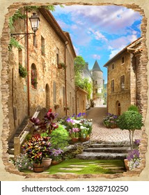 beautiful view from the ruined stone wall to the old street in flowers. Digital fresco and Modular panno.