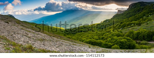 Beautiful view of rural alpine landscape. Overcast sky before storm. Crimea, Ukraine, Europe. Beauty world.