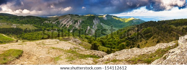 Beautiful view of rural alpine landscape. Overcast sky before storm. Crimea, Ukraine, Europe. Beauty world.