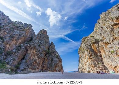 Beautiful view of Sa Calobra on Mallorca Island, Spain