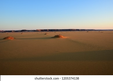 Beautiful view of the Sahara desert nearby Dakhla oasis in Egypt at sunset. Sahara. Africa