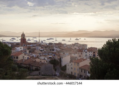 Beautiful view of Saint-Tropez at sunset, France with seascape