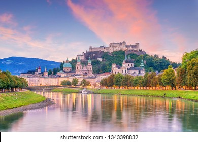 Beautiful view of Salzburg city skyline  in the summer at sunset, Austria