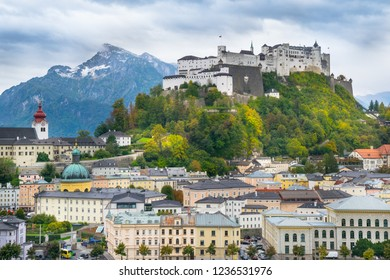 Beautiful view of Salzburg with Hohensalzburg Fortress in the background  - Austria