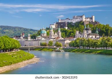 Beautiful view of Salzburg skyline with Festung Hohensalzburg and Salzach river in summer, Salzburg, Salzburger Land, Austria
